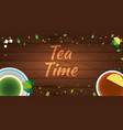 tea poster cup of tea with lemon wooden vector image vector image