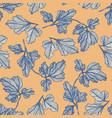 tender blue and orange textured leaves pattern vector image vector image