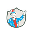 Uncle Sam American Hand Up Shield Retro vector image vector image