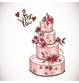 Vintage floral card with Wedding Cake vector image vector image