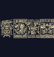 vintage tattoo monochrome posters set vector image