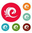 wave tsunami icons circle set vector image