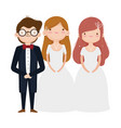 wedding groom and brides elegant dress and suit vector image vector image
