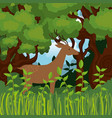 wild reindeer in the jungle scene vector image