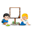 wooden sign on colorful park with children vector image vector image