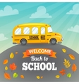 Yellow school bus and text vector image
