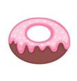 Sweet donut flat cartoon style Glazed with vector image