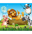 A king lion surrounded with animals vector image vector image