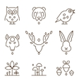 Animal Heads and Plants Icons Set Linear Style vector image vector image