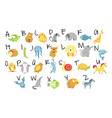 animals and zoo alphabet abc and childish vector image vector image