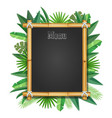 bamboo frame with tropical leaves realistic vector image