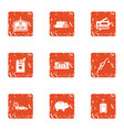 bank discount icons set grunge style vector image vector image