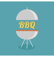 BBQ grill with fire party invitation card Flat des vector image