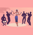 beautiful dancer playing maracas and four latin vector image vector image