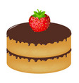 birthday cake wit strawberry vector image vector image