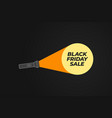 black friday banner flashlight with a ray of vector image