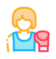 boxer woman icon outline vector image vector image