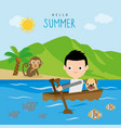 boy rowing boat summer trip beach cartoon vector image