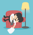 Businessman sleeping on the couch exhausted vector image vector image