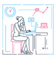 businesswoman at the computer - line design style vector image vector image