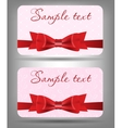 Card with bow and ribbon vector image vector image