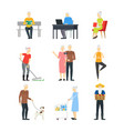 cartoon characters modern aged people set vector image