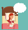 Cartoon young woman sleeping in bed hug cat vector image
