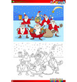 christmas santa group coloring book vector image vector image