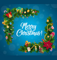 christmas tree and gifts garland corner border vector image vector image