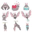collection funny gray bats cute creature vector image vector image