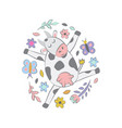 cow with flowers and butterflies on white vector image