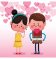 cute couple in love cartoons vector image