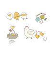 easter chickens eggs and paint cute cartoon vector image