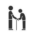elderly people help glyph icon volunteer vector image vector image