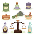 flat set of pharmacy elements jar with vector image