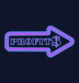 glowing neon arrow with dollar symbol vector image