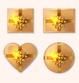 golden gift box set realistic product vector image vector image