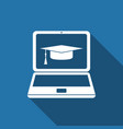 graduation cap and laptop icon e-learning concept vector image vector image