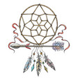 hand drawn arrow with dream catcher tribal tattoo vector image vector image