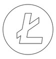 litecoin icon black color in round circle vector image vector image