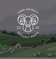 logo organic meat farm ecological farm vector image