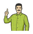 man with index finger up color sketch engraving vector image vector image