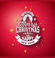 merry christmas typography with 3d vector image vector image