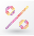 percent symbol composed of colorful dots vector image vector image