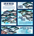 sea life banner with fish and ocean animal sketch vector image vector image