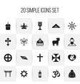 set of 20 editable faith icons includes symbols vector image vector image