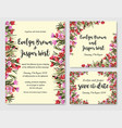 set of card withred and pink waxflower leaves vector image