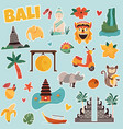 set stickers with bali landmarks and elements vector image