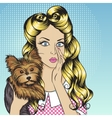 Sexy girl with little dog Yorkshire Terrier vector image vector image