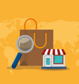 shopping bag with electronic commerce icons vector image